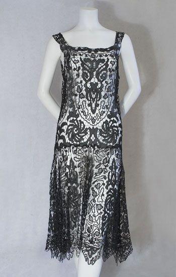 Vintage Find - 1920s Jazz Era Dress (Debutante Clothing)1920 S, Flappers Dresses, Flapper Dresses, Vintage Textile, 1920S Fashion, 1920S Flappers, Black Laces, Cut Work, Roaring Twenty