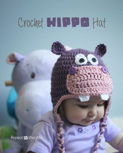 Crochet Hippo Hat Pattern - Repeat Crafter Me                                                                                                                                                                                 More