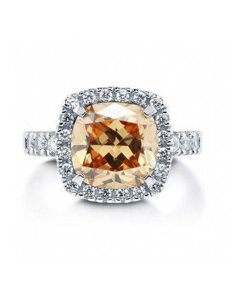 Коктейльное кольцо цвета Шампанского огранки подушка из стерлингового серебра с цирконами CZ