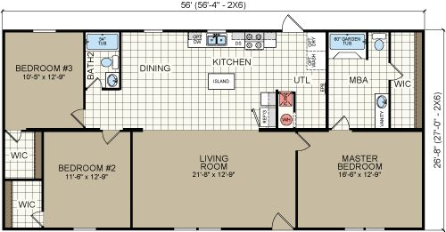Champion beretta home 3 bedroom 2 bathroom 1 493 sq for 3 bedroom double wide floor plans