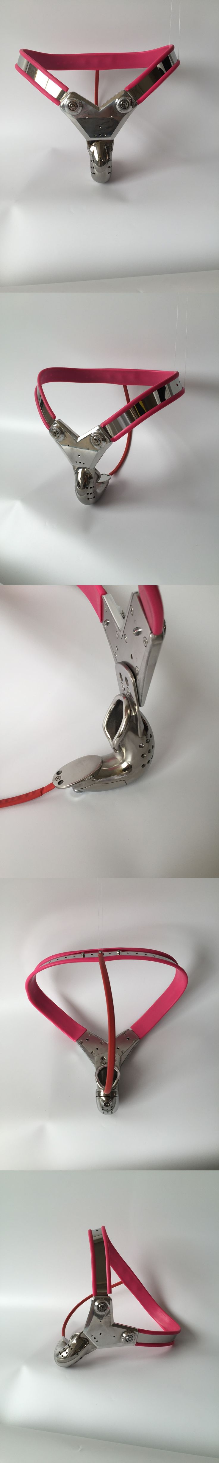 Y Style  stainless steel red female chastity belt device with anal beads plug sex toys bdsm fetish bondage restraints for woman