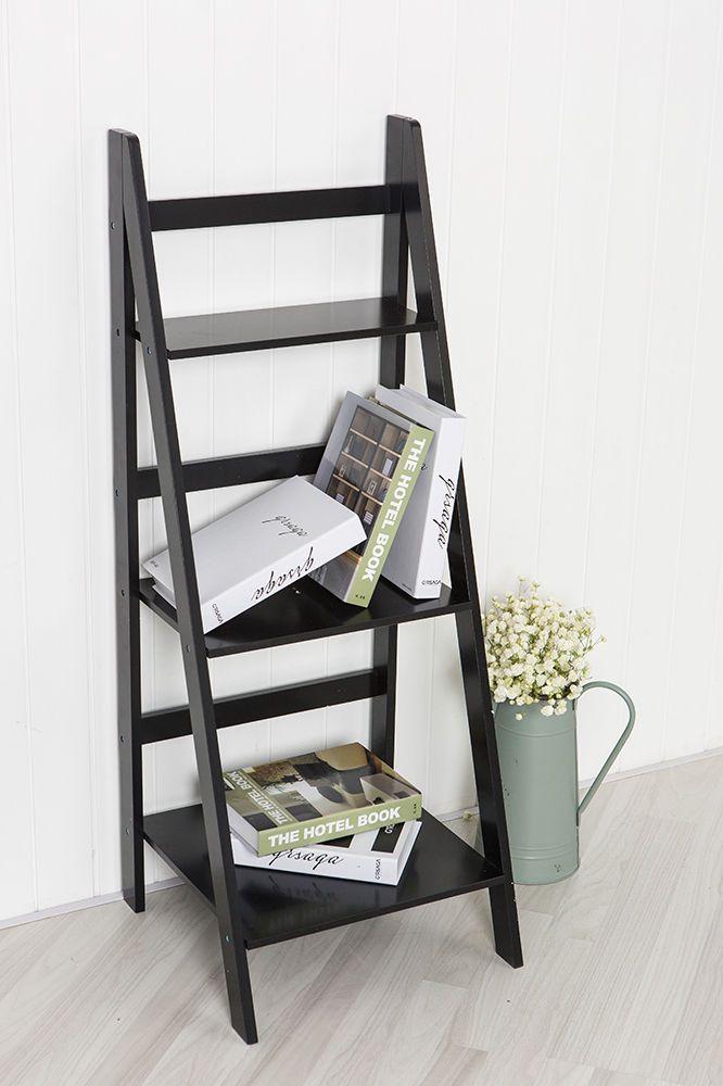 Black Ladder Shelf with Three Shelves - Display Shelving Unit or Bookcase   eBay