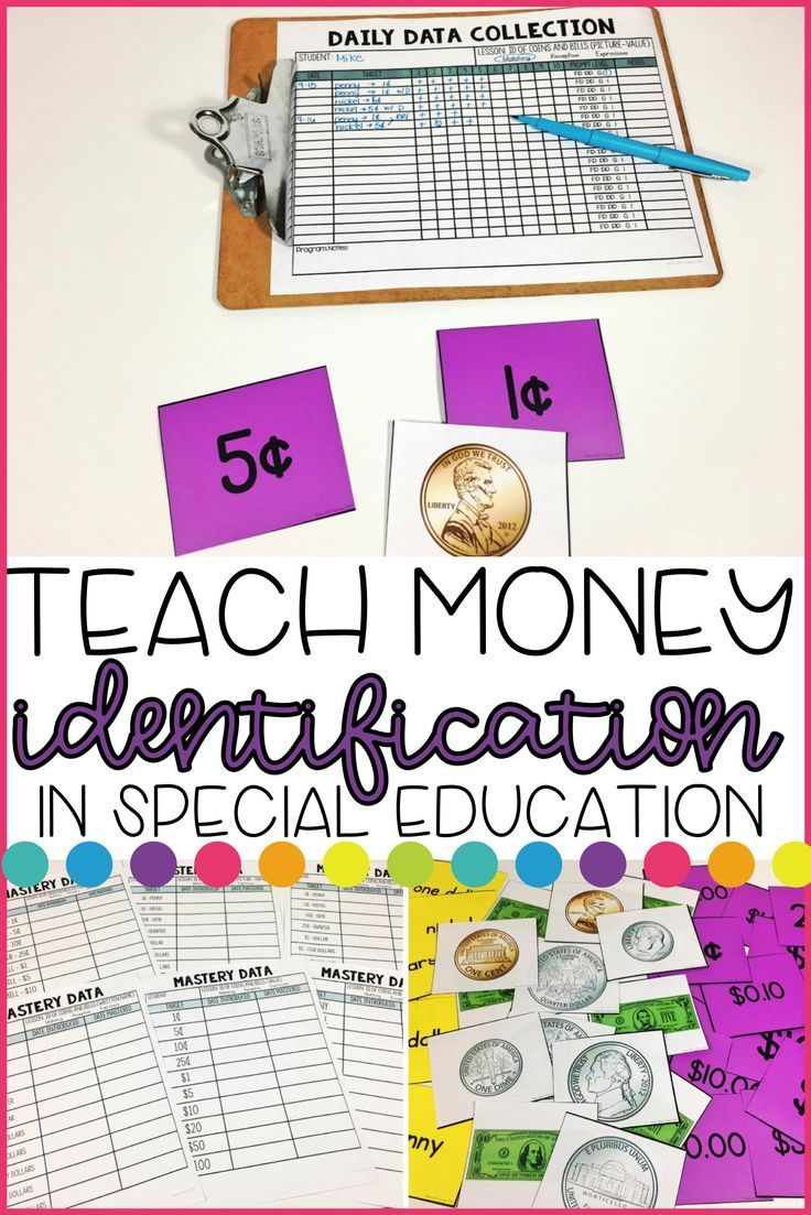 Teach students to identify coins and bills using this Discrete Trial kit. Students will complete 6 lessons to identify coins and bills by name, value, and picture. This kit has everything you need to teach money identification and collect data in your special education classroom.