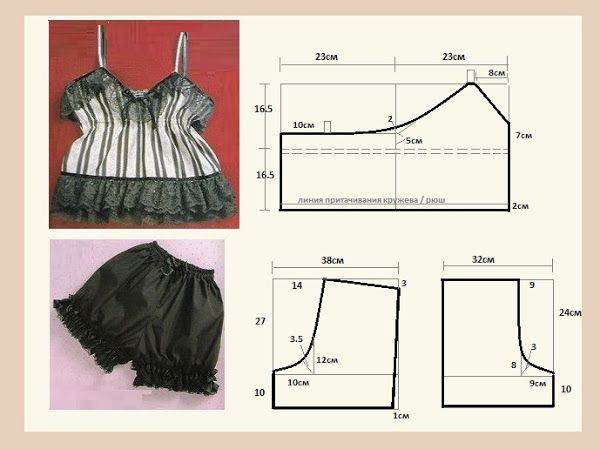 Pattern for Camisole and (I think) Tap Pants from www.club.osinka.ru