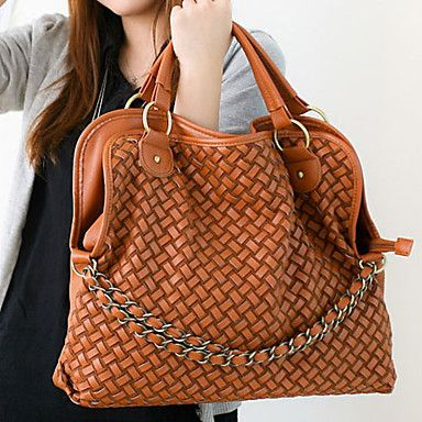 Fashionable Ladies' Braided PU Tote Bag With Chains Front - USD $ 19.19