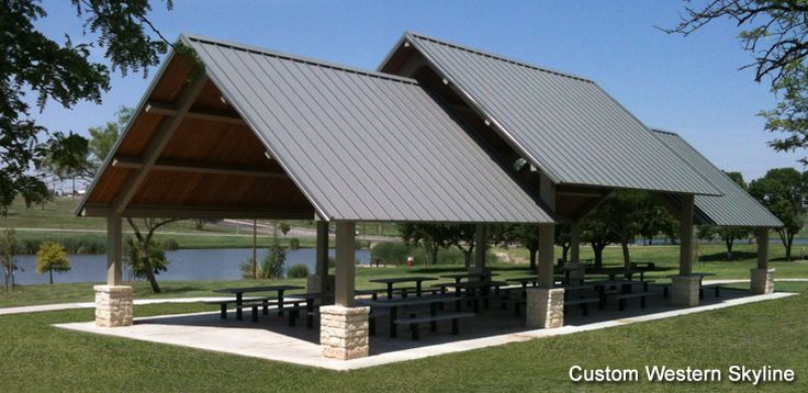 Outdoor picnic structure picnic shelters gazebos for Metal sun shade structures