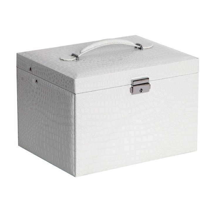 Mele & Co. Dahlia Drop Front Locking Jewelry Box in White Croco Faux Leather