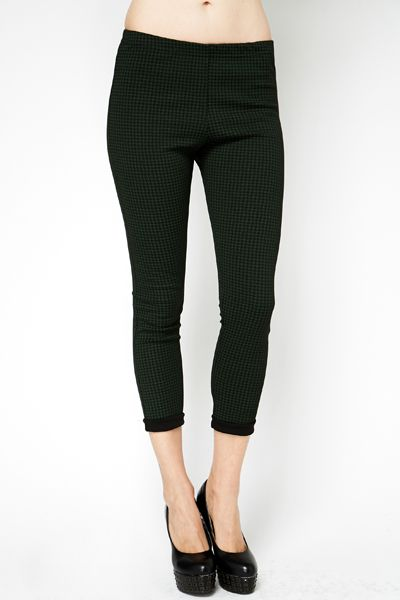 Dogtooth Green Leggings @ Everything5pounds.com