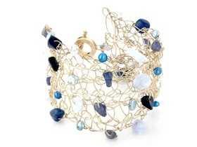 silver crochet cuff with blue pearls and gemstones £27 #blue #jewellery #jewelry