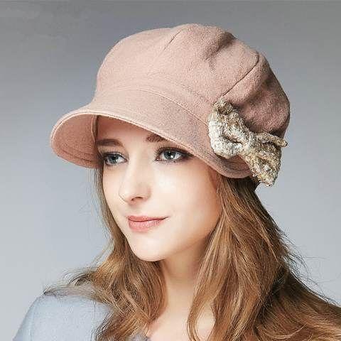 Bow beret hat for women autumn winter newsboy caps