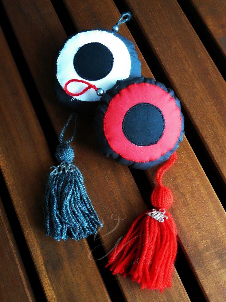 Χειροποίητα υφασμάτινα γούρια -  μάτι / Handmade fabric good luck charm - eye