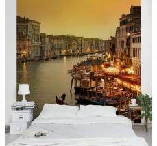 Bilderwelten Vliestapete Quadrat »Großer Kanal von Venedig«, gelb, 336x336 cm, Gelb
