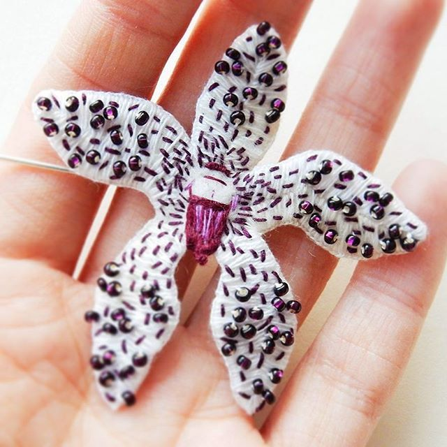 The Orchid brooch n1 95*60 mm, hand embroidery, cotton thread, wool, glass beads, steel pin with silvering 🌺 орхидея n1, брошь на посеребренной игле, ручная вышивка хлопком, шерстью, бисером, 95*60 мм 🌺#вышивка#ручнаяработа#ручнаявышивка#embroidery#embroidered#embellishment#flower#orchid#lerapetunina#bordado#handembroidery