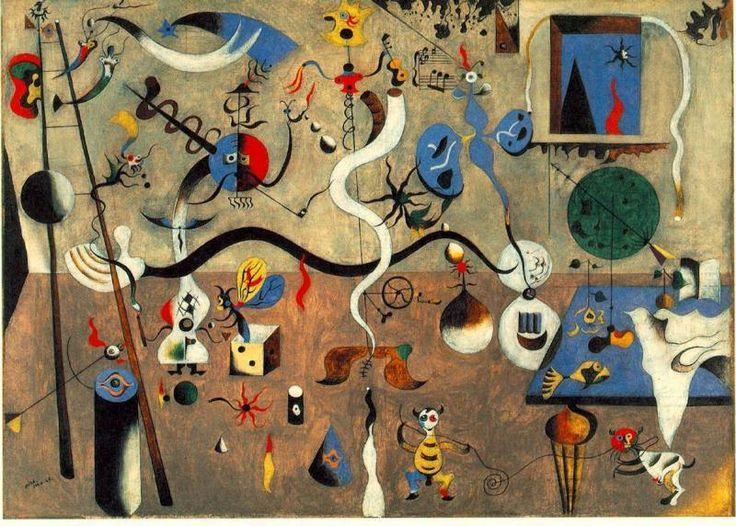 Geografía, Historia y Arte: El carnaval del arlequín de Joan Miró_ Es un óleo sobre tela de 66 x 93 cm. de 1925, que se conserva en la galería Albright-Knox de Buffalo, Nueva York._plasmar las alucinaciones que producía el hambre que pasaba. no es lo que veía en sus sueños,
