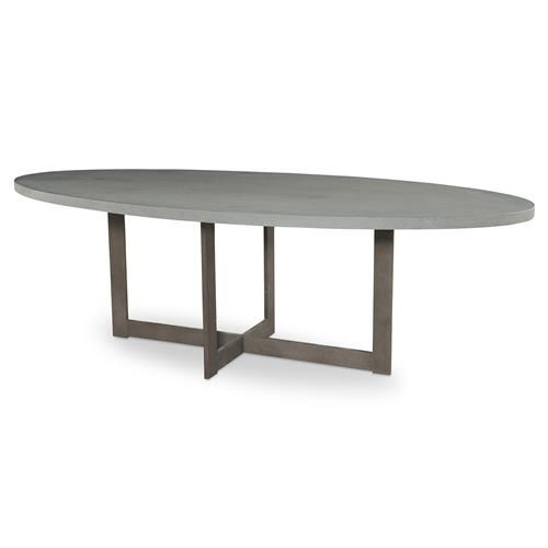 Ronan Industrial Grey Steel Oval Dining Table - 8 foot   Kathy Kuo Home