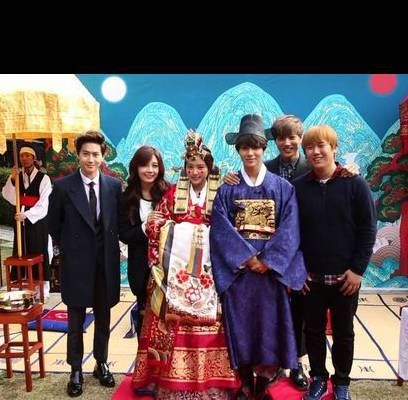 EXO's Kai and Suho attend Taemin and Na-Eun's traditional Korean wedding on 'We Got Married' | http://www.allkpop.com/article/2013/11/exos-kai-and-suho-attend-taemin-and-na-euns-traditional-korean-wedding-on-we-got-married