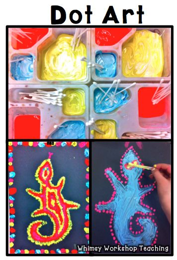Australian aboriginal artwork! See lots of examples and other art ideas too! Whimsy Workhshop Teaching