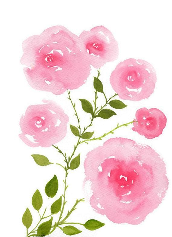 Pink Roses Painting Rose Watercolor Flowers Pink Roses Wall Art