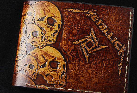 Handmade custom thrash metal metallica carved leather