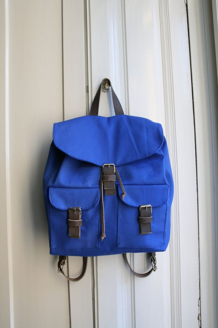Women backpack Royal Blue Books Bag Women Luggage Sack Women Cotton Canvas Pack Leather by DoboArt on Etsy