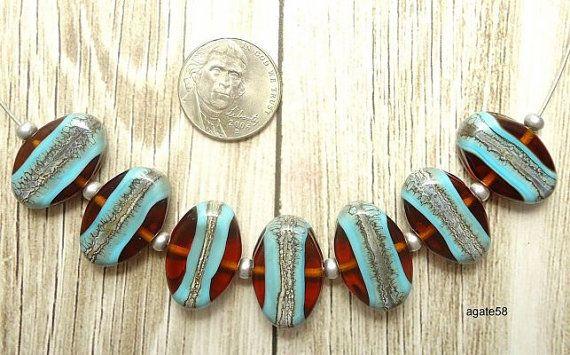 Svendita di Natale) ambra turchese argentato perle artigianali in vetro avorio Elipse SRA