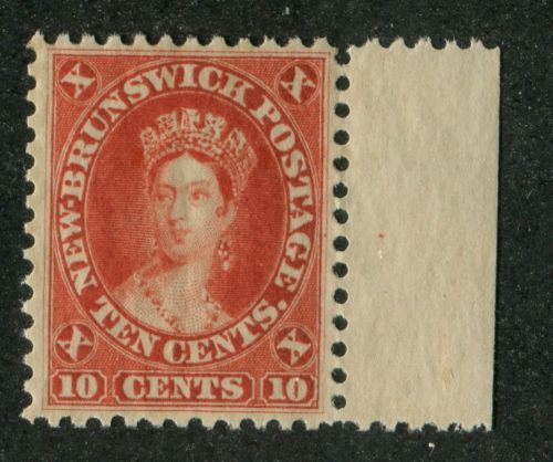 New-Brunswick-9-10c-Deep-Vermilion-Cents-Issue-Queen-Victoria-VF-84-NH