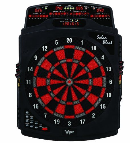 Viper Solar Blast Electronic Dartboard by Viper. $154.30. Amazon.com                This stylish and well-constructed electronic dartboard is a great choice for your downstairs rec room or upstairs den. The board boasts a total of 25 different games--enough for all but the most demanding darts player--with a 4-by-7-inch LED cricket display keeping track of up to eight players at once. The regulation 15.5-inch target face, meanwhile, is outfitted with a tournament spider that...