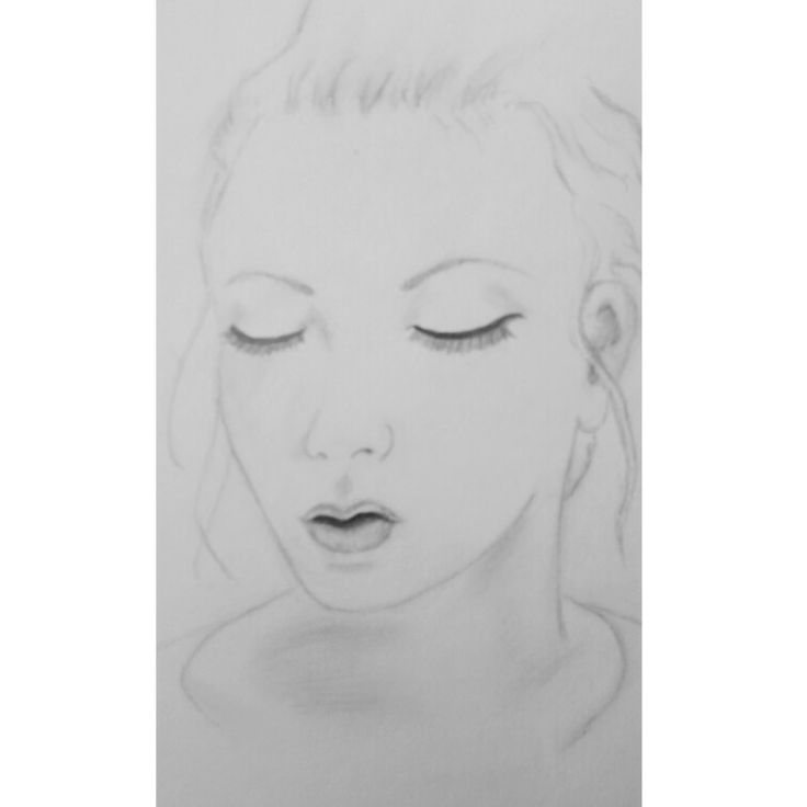 Girl looking downwards - in graphite