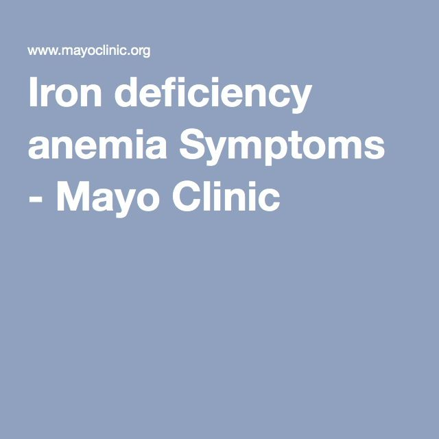 Iron deficiency anemia Symptoms - Mayo Clinic