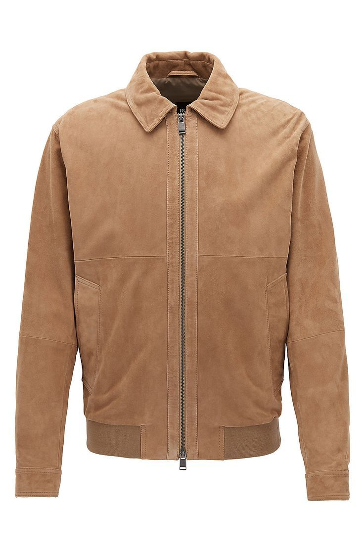 ca96111db HUGO BOSS Suede aviator jacket with two-way zip - Beige Leather Jackets  from BOSS for Men in the official HUGO BOSS Online Store free shipping