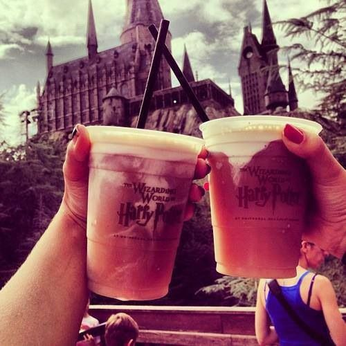 Butterbeer recipe! To my Harry Potter friends: BUTTERBEER  Start to finish: 1 hour (10 minutes active)  Servings: 4  1 cup light or dark brown sugar  2 tablespoons water  6 tablespoon butter  1/2 teaspoon salt  1/2 teaspoon cider vinegar  3/4 cup heavy cream, divided  1/2 teaspoon rum extract  Four 12-ounce bottles cream soda