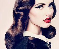 Retro hair, red lip, cat eye, perfection