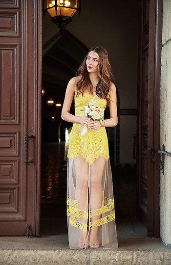 For Love & Lemons Antigua Maxi Dress in Neon yellow XS - L   DAILYLOOK