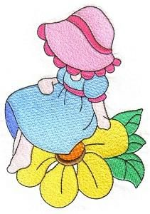 Sunbonnets and Flowers - Earlas Machine Embroidery   OregonPatchWorks