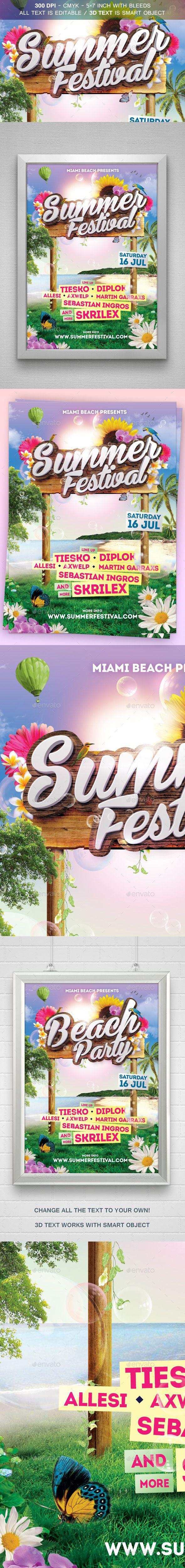 Summer Festival Flyer Template #design #print Download: http://graphicriver.net/item/summer-festival-flyer/11975145?ref=ksioks