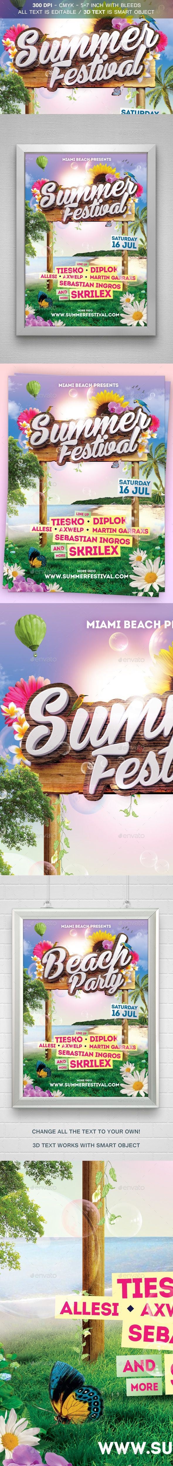Summer Festival Flyer Template #design #print Download: http://graphicriver.net/item/summer-festival-flyer/11975145?ref=ksioks