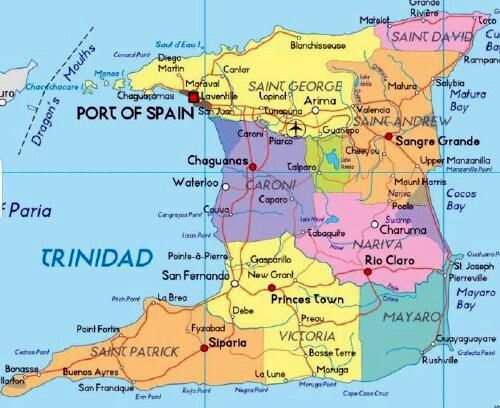 Google downloaded map of Trinidad (without Tobago)