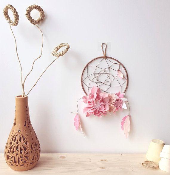 Rose boho dreamcatcher floral dreamcatcher hoop wall by mellsva