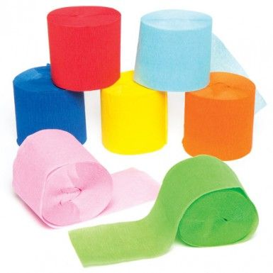 Crepe Paper Craft Streamers Create, fold and decorate with these crepe paper streamers in 10 bright colours - ideal for paper flowers. Size 10m x 5cm per roll.