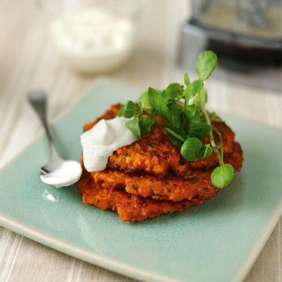 Collect this Sweet Potato & Sun-Dried Tomato Fritters recipe by Vitamix. MYFOODBOOK.COM.AU | MAKE FREE COOKBOOKS