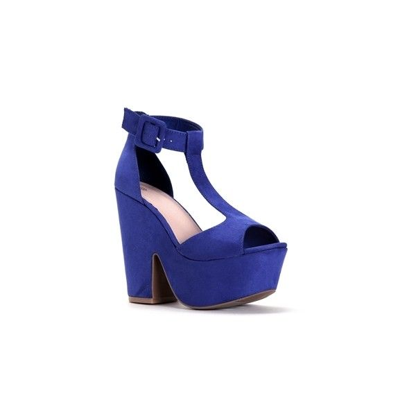 Royal T-Strap Heels (81 BRL) ❤ liked on Polyvore featuring shoes, pumps, thick-heel pumps, high heel pumps, black open toe pumps, chunky heel platform pumps and chunky-heel pumps