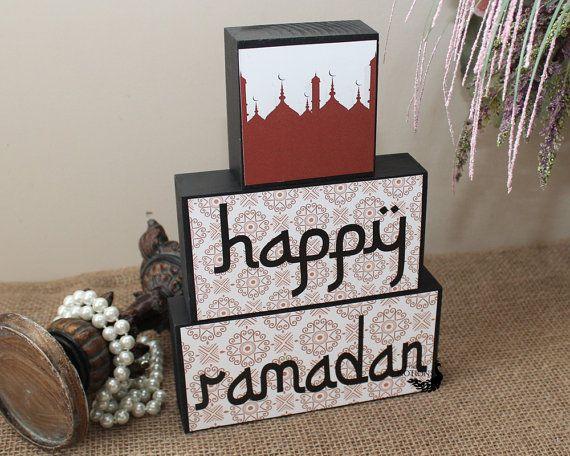 Happy Ramadan Decoration - Islamic Festival - Iftar Hostess Gift - Ramadan Gift for Kids - Muslim Celebration - Ramadan Wood Blocks