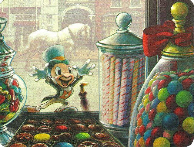Disneyland Extraordinary Confectionery Jiminy Cricket postcard