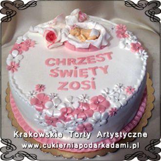 039. Tort na chrzciny Zosi z kwiatuszkami. Floral cake for Zosia's baptism.