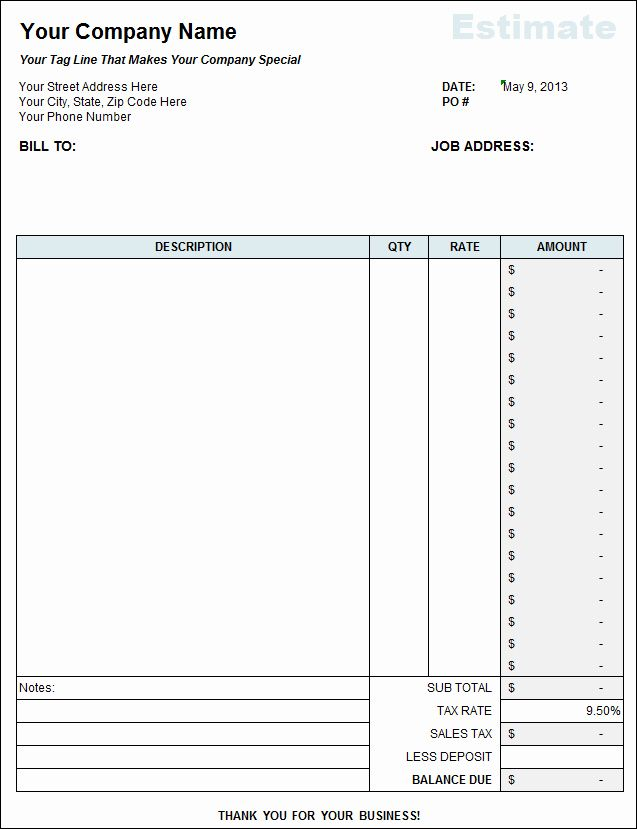 General Contractor Estimate Template Awesome Free Contractor