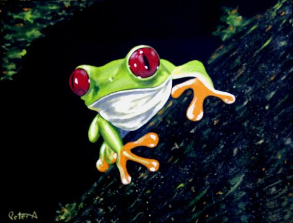 Green Tree Frog Original Acrylic Painting 18 x 24 by artbypeter