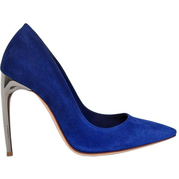 Alexander Mcqueen Women 105mm Mirror Heel Gradient Suede Pumps ($765) ❤ liked on Polyvore featuring shoes, pumps, royal blue, pointed toe shoes, suede shoes, suede pointy toe pumps, high heel shoes and leather sole shoes