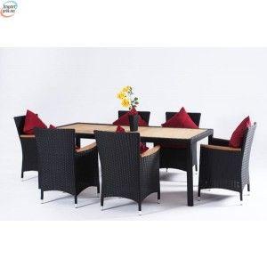 Rotting Spisegruppe med 6 stoler og alu ramme