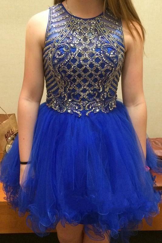 Royal blue Homecoming dresses, Beaded homecoming dresses,  tulle homecoming dresses, dresses for homecoming,