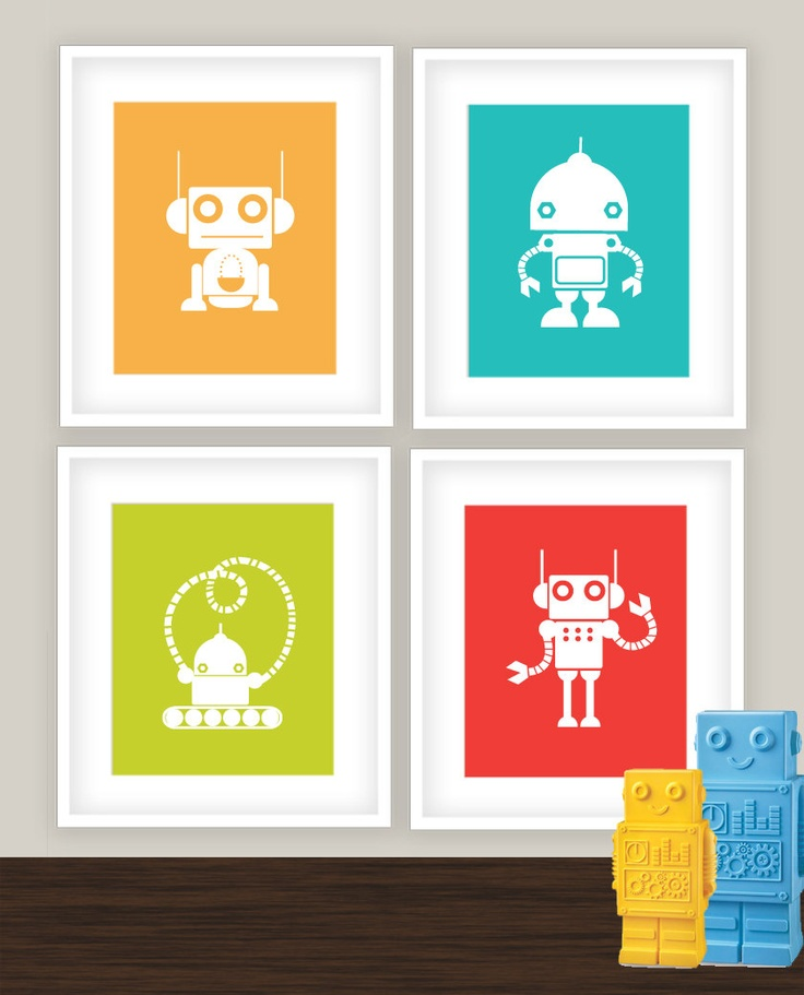 Robots Wall Art - Kids and Baby Nursery Decor - Set of for 8x10 prints - green orange aqua yellow white silhouette. #robots_nursery